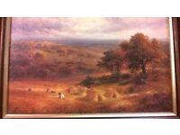 """Signed George Turner Giglee - """"Harvest"""" Framed and Plaque"""