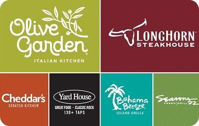 $50 Darden Gift Card Olive Garden Longhorn, Bahama Breeze, Yard House. 2x25$