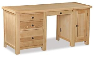 helford oak large home office desk hand crafted light