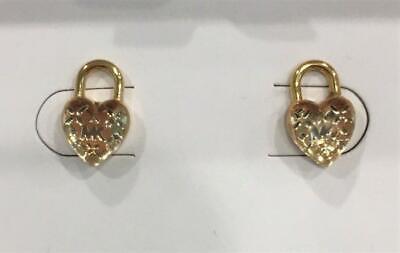 Michael Kors Gold Heart Stud Earrings Logo Love MKJ7022710 NIB