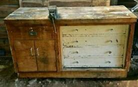 Vintage 1950's Factory Workbench With Paramo No. 2 Vice Can Deliver