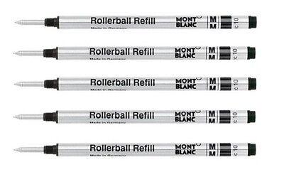 5 - MONTBLANC GENUINE Rollerball Pen Refills - BLACK MEDIUM - bulk packed