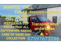 Wanted top prices paid for scrap cars / vans / jeeps