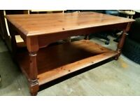Wooden coffee table, Ideal for living room or conservatory, storage shelf with shaped legs