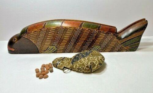 Vintage Indonesian Batik Folding Fish Mancala Wood Game Board Orig. Box