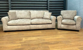 Fabric 4 Seater Sofa And Armchair - Mink