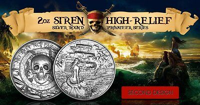 2 oz Silver Privateer 2 Silver Siren Ultra High Relief  Silver round coin (2 Oz Privateer Ultra High Relief Silver Round)