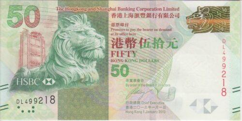 Hong Kong Banknote P213c 50 Dollars 2013 HSBC, UNC