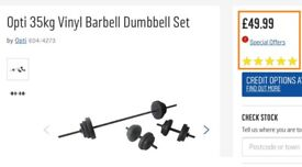 Opti 35kg dumbell and barbell set