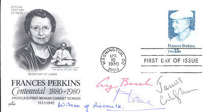 George H W  Bush   First Day Cover Signed With Co Signers