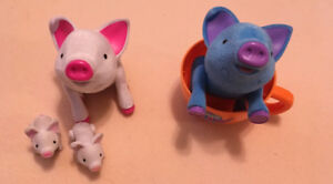 Tea Cup Piggies  Denim with cup and Mama with 2 babies.