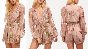 BRAND NEW Deep Plunge V-Neck Long Sleeved Beaded Sequin Playsuit Kitchener / Waterloo Kitchener Area image 4