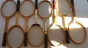 COLLECTABLE VINTAGE WOOD TENNIS RACKETS - 1960 TO 1985