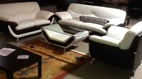 Brand New Leather four item set sofa love chair coffee table!