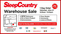 June 27! Summer Warehouse Sale by Sleep Country
