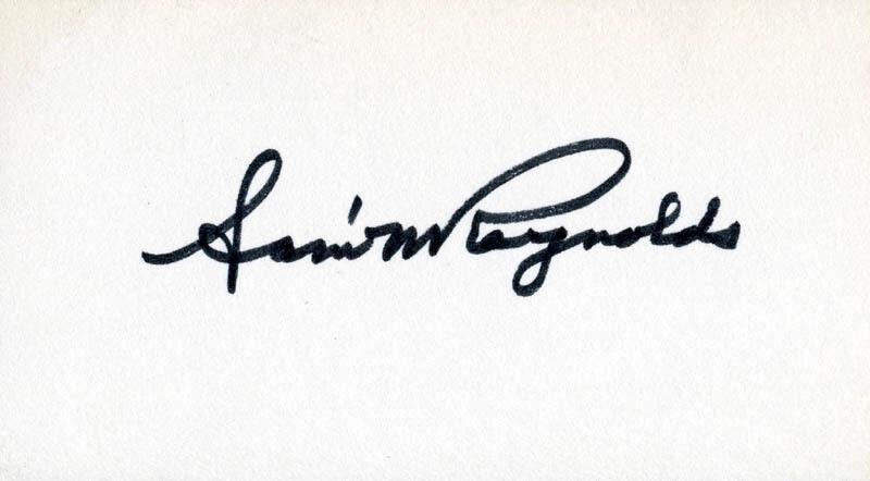 SENATOR SAMUEL W. REYNOLDS - SIGNATURE(S)
