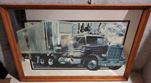 Wooden framed decorative mirror back truck print wall hanging London Ontario image 2