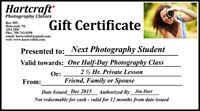 Local Photography Workshop .. Gift Certificates