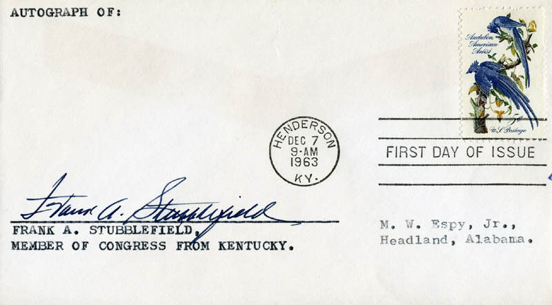 FRANK A. STUBBLEFIELD - FIRST DAY COVER SIGNED