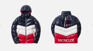 KITH X MONCLER ROCHEBRUNE CLASSIC DOWN JACKET NAVY / WHITE / RED