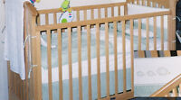 Baby Crib Bedding with Green Stripes and Hedgehogs