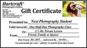 Private Photography Lessons - GIFT CERTIFICATES - Special