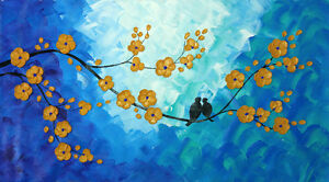 Beautiful Modern Art 3D Cherry Blossoms Canvas Painting