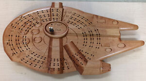 Star Wars Falcon inspired Cribbage Board carved in solid wood