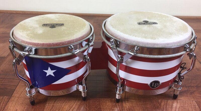 LP Matador Wood Bongos - Puerto Rico Flag Design Chrome Hardware - M201-PR