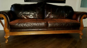 Broyhill  full grain leather sofa, loveseat chair and ottoman