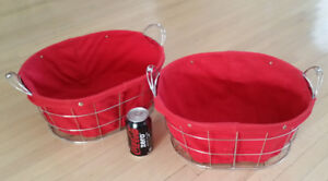 Kitchen Bathroom Wire Baskets with Cloth Liner 2 pcs (both)