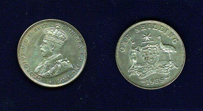 AUSTRALIA GEORGE V  1935  1 SHILLING SILVER COIN, GRADE: XF/AU
