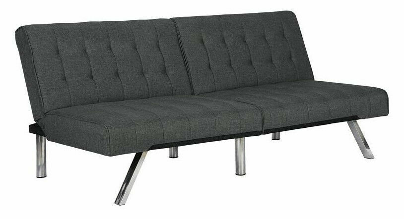DHP 2007429 Emily Futon Sofa Bed with Chrome Legs and Linen Upholstery -  Grey