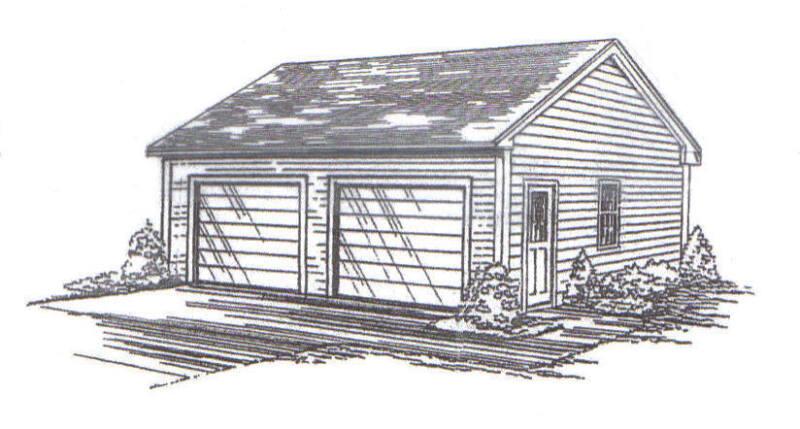 22 x 26 2-Car RD Garage Building Plans w / Vault Interior Ceiling