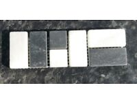 Marble, natural stone border tiles black and white pre sealed. Good value, job lot