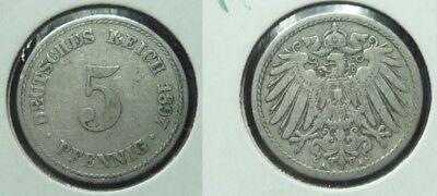 5 Reichspfennig - 1897 A - Deutsches Reich - Kaiserreich    (685)