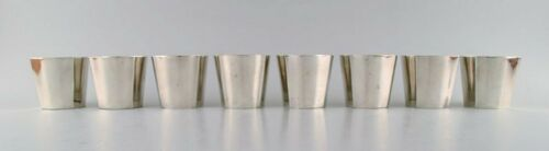 Sigvard Bernadotte for Gense. A set of 8 hunting/vodka beakers in plated silver.
