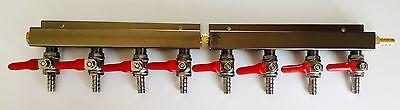 Beer Tap Kegerator Co2 Nitrogen Gas Regulator 8 Way Spliter Kegerator 516 Barb