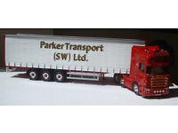"Corgi CC13737, Scania R Vinyl Curtainside ""Parker Transport"" (SW) Ltd, 1:50"