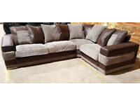 Good Quality Corner Sofa - brownish grey & brown.