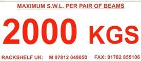 safe work load stickers ( pallet racking , storage , shelving )