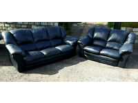 2 and 3 seater leather suite sofa