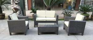NEW 4 PCS OUTDOOR FURNITURE SET GRAY PATIO DECK SEATING