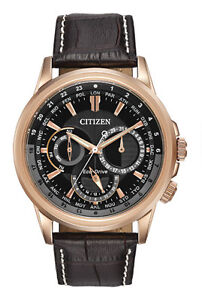 Citizen Men's Calendrier Gold-Tone Watch with Leather Band