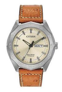 Citizen Mens Super Quartz Titanium and Leather Casual Watch, AW0060-11P