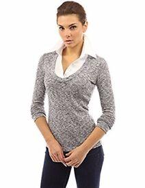 PattyBoutik Women's Shirt Collar Marled Knit 2 in 1 Top