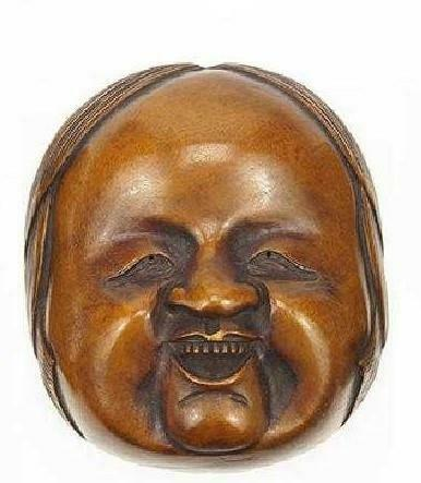 Antique Japanese Carved Hardwood Mask, Meiji Period.