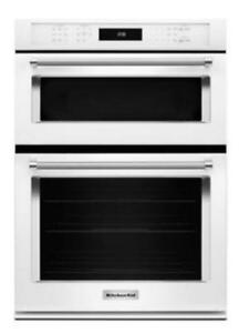 "KITCHENAID NEW KOCE500EWH 30"" COMBI, 5.0 CU FT + 1.4 CU FT., TRUE CONVECTION,  SELF CLEAN (LOWER), 900 WATTS (BD-1556)"