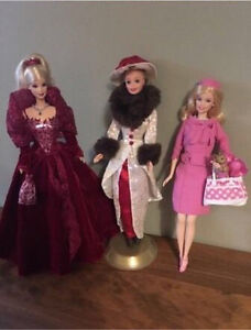 3 Collector Barbie Dolls