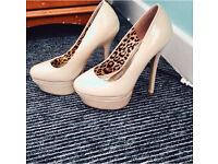 Nude patent leather platform heels